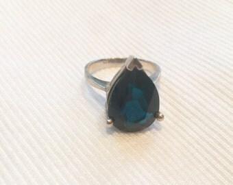 Sterling Silver Pear Shape Mt. St. Helen Lava Stone Ring