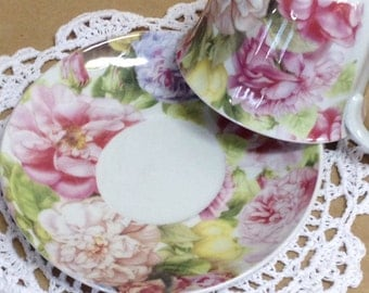 NEW Country Chic Tea Cup and Saucer, Pink & Lavender Peony Tea Cup and Saucer