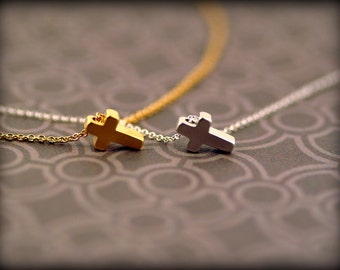 Tiny Cross Necklace-Sterling Silver Chain-Gold Cross Necklace-Silver Cross Necklace-Gold Filled Chain-Dainty Cross Necklace