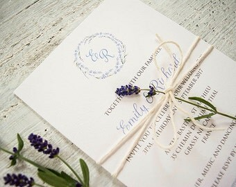 Rustic lavender wedding invitation stack with twine / country wedding / barn wedding / destination/ France / Provence