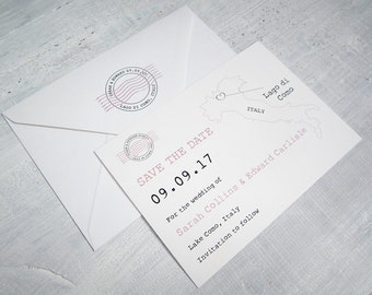 Destination Wedding Save the Date card with map/Italy/overseas/rustic/any country map
