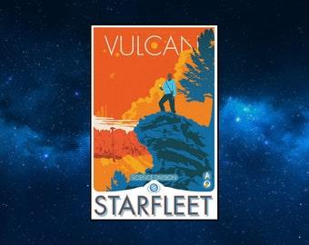 Vulcan Starfleet Travel Poster Style Fridge magnet. Star Trek. Mr Spock