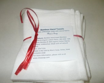 12in X 12in Bamboo Hand Towel/ Bamboo Dish Towel/Natural Fabrics/ Bamboo Fleece/ Soft and Smooth/ Paperless Towel