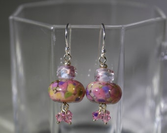 Multicolored pink lampwork bead with pink accents