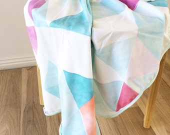 Watercolour triangles organic baby swaddle wrap. Baby swaddle. Organic cotton wrap. Nursery wrap.