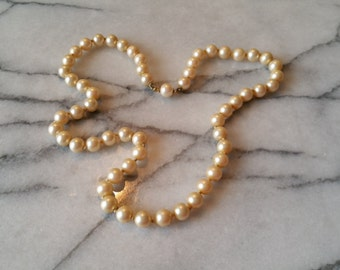 Vintage Champagne Glass Pearl Beads Necklace, Hand Knotted