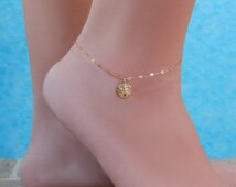 Sand Dollar Anklet, Gold or Silver, Beach Cruise Jewelry, Girlfriend Gift, Minimal, Wedding Bridesmaid Anklet
