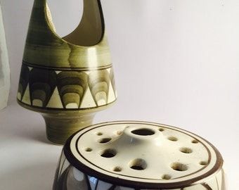 Jersey pottery potpourri holder and candle holder.
