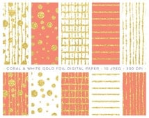 Digital Paper Gold Foil, Coral and White. Stripes and Dots and more backgrounds for graphic design, scrapbooking, invitations, printables.