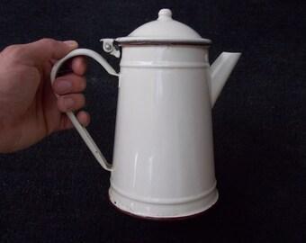 Vintage Enamel Tea Pot, Shabby Chic Kitchen Decor, Farmhouse Decor, Country Cottage Chic, gift idea, white enamel tea pot, kitchen decor