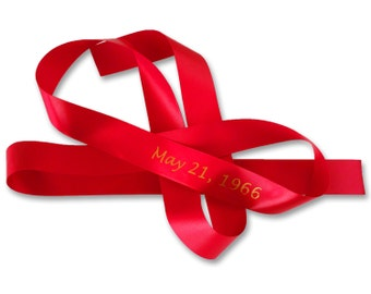 Customized Ribbon tied around the book