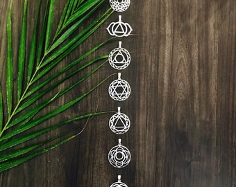 Chakra Necklace ~ silver pendants with silver chain