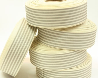 5yards Gray & Ivory striped ribbon