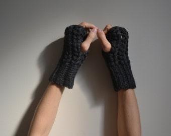 Wool Crochet Gray Fingerless Gloves, Wool Gloves, Gray Mittens, Women Accessories