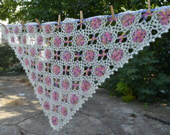 Creamy White and Colorful Flower Wool Crochet Shawl, Wedding Shawl, Bridal accessories, Bridal Shrug, Wool Shawl, Lace Shawl, Bridal Wrap