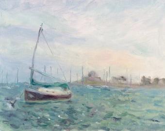 Chicago sketch (oil on paper) original impressionist painting