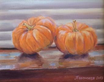 Pumpkins (original painting, framed, impressionist still life)