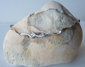 Sterling Silver Cubic Zirconia Swirl Bracelet, Silver Link Bracelet, Modern Sterling Jewelry, 925 Sterling, Retro Bracelet from the 70's