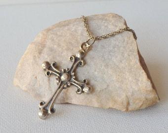 Silver Antique Cross Pendant Necklace Vintage Silver Ornamental Cross, Vintage Cross Jewelry, Rare Cross from 60's,Vintage Silver Tone Cross