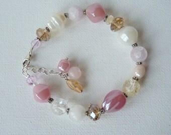Sterling Silver Pink White Bracelet Rose Quartz  Bracelet, Crystal Bracelet, Multicolor Beaded 925 Sterling Bracelet,Handmade Beaded Jewelry