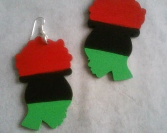 Young Women With Natural Puff Earrings-red-black-green- African american girl natural with silver hook