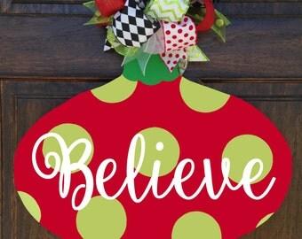 Red and Green Believe Door Decor