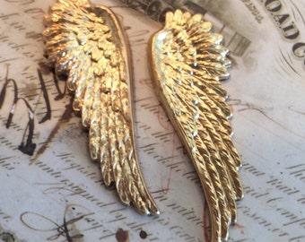 Raw  brass angel wing 5 pair