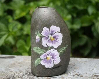 Medium Sized Purple Flower Painted Stone Vase