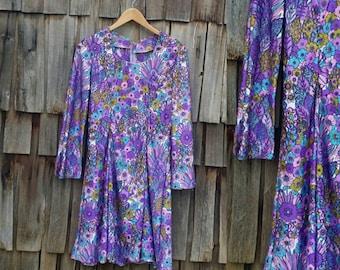 Vintage floral dress | 70s floral dress | 70s paisley dress | 70s Aline dress | 70s Mod dress | 70s psychedelic dress