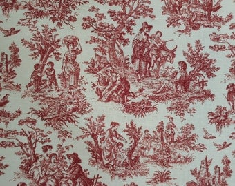 Waverly RUSTIC  LIFE Toile in Crimson sold by the yard