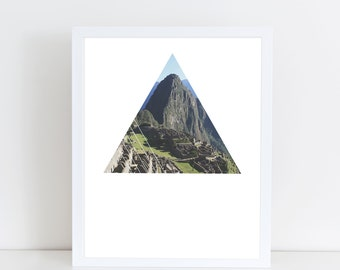 Machu Picchu Art Print - Inspirational indigenous Incan Trail Wall Art, Beautiful World Wonder Geometric Photography, Printable Peru Poster