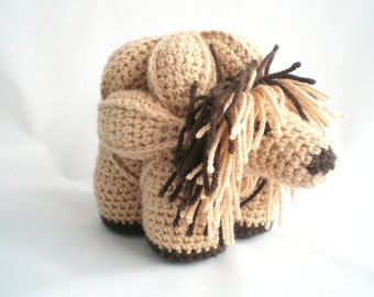 Crochet Puzzle Ball Soft Toy /   Amigurumi Puzzle Ball /  Lordly  Lion Puzzle Ball Soft Toy,  in Taupe and Brown.