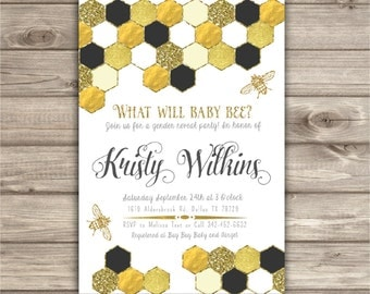 Geometric Honey Bee Baby Shower Theme Gender Reveal Baby Shower Invitations NV5236