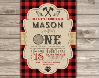 LumberJack Birthday Invitations Woodland Lumber jack Buffalo Plaid Outdoors Party forest Animals First Birthday One Invitation Timber NV2132
