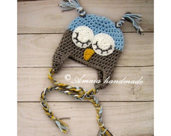 Baby boy Owl hat, Crochet Owl hat for Newborn to 12 Months, Crochet baby boy hat, Great as an baby boy shower gift!