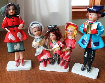 Vintage Felt Christmas Caroler Dolls--Family Set of 5