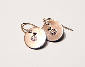 Lady Bug Earrings Small Hand Stamped