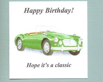 MGA, MG A, green classic car Birthday Card for men