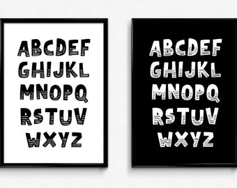 Printable Art Alphabet Nursery Wall Art Kids Print Art Nursery Room Decor Baby Gift Baby Room Wall Art Black And White Nursery Art