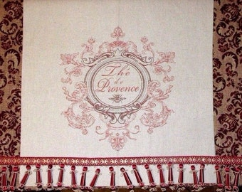 Custom Made French Country Th'e de Provence Linen Panel And Highend Linen Fabric Valance