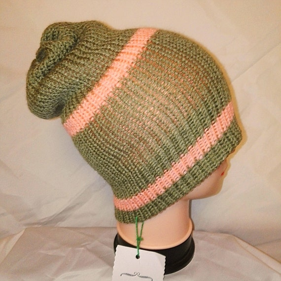 RETRO unique olive green pink colour mix Handmade beanie hat double knit extra thick ski snowboard garden one size unisex wool #retro #gift