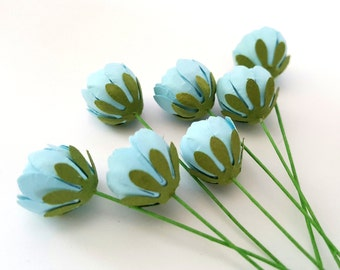 Small blue paper peonies / small blue paper buds / paper buds / blue flowers wholesale / blue flowers bulk