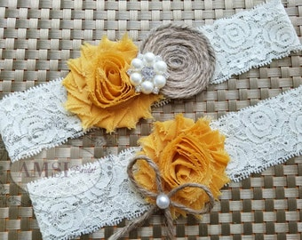 Wedding Garter Belt, Wedding garter Set, Bridal garter, Lace garter, Rustic wedding garter, Mustard garter, Ivory Garter Burlap garter bride