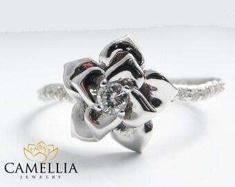14K White Gold Diamond Ring Unique Engagement Ring Half Eternity Flower Ring Diamond Engagement Ring