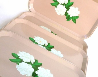Vintage Trays Pink With A Pretty Gardenia Pattern - Set of 4