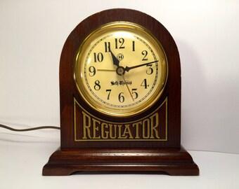 Vintage Seth Thomas Regulator Electric Mantle Clock with Alarm Model 645