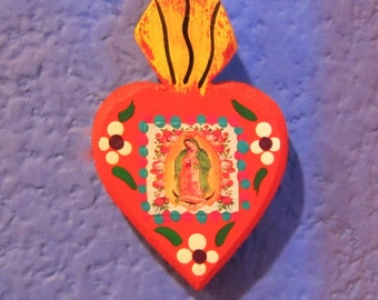 Small Hand Made Wooden Sacred Heart Magnet-Virgin Guadalupe