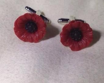 Poppies Poppy Flower Cuff Links Cufflink