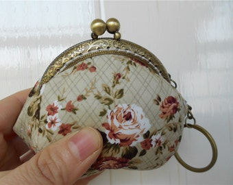Vintage Flowers Change Purse Coin Bags