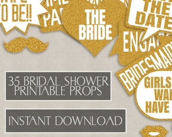 35 Gold Glitter Bachelorette Party Game Printable Props, Bridal Shower Photo Booth Props, bachelorette, speech bubbles, photobooth selfies
